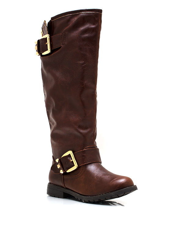 Studly Double Buckle Boots BROWN