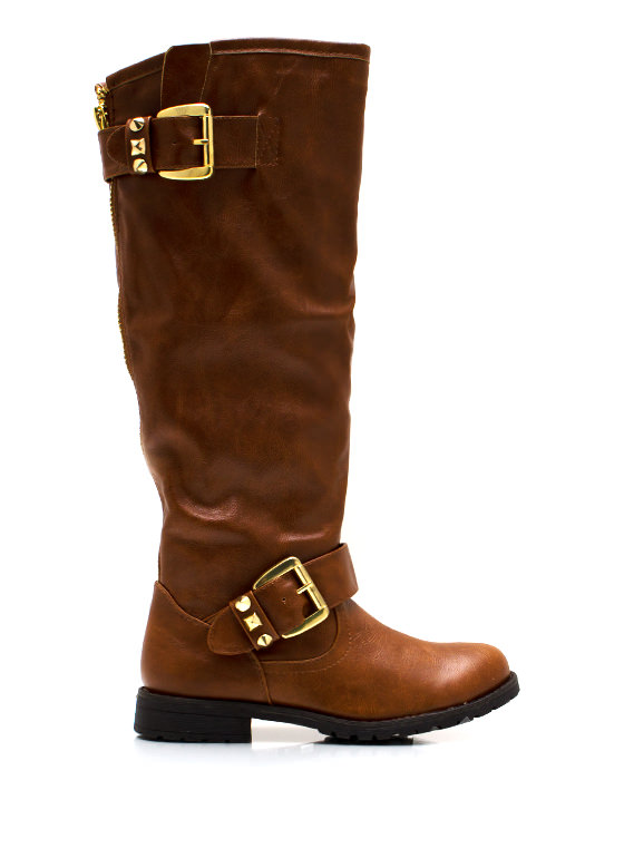 Studly Double Buckle Boots CHESTNUT