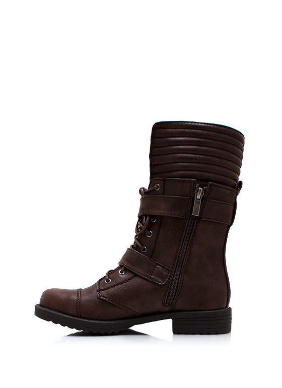 Zip It Good Combat Boots BROWN