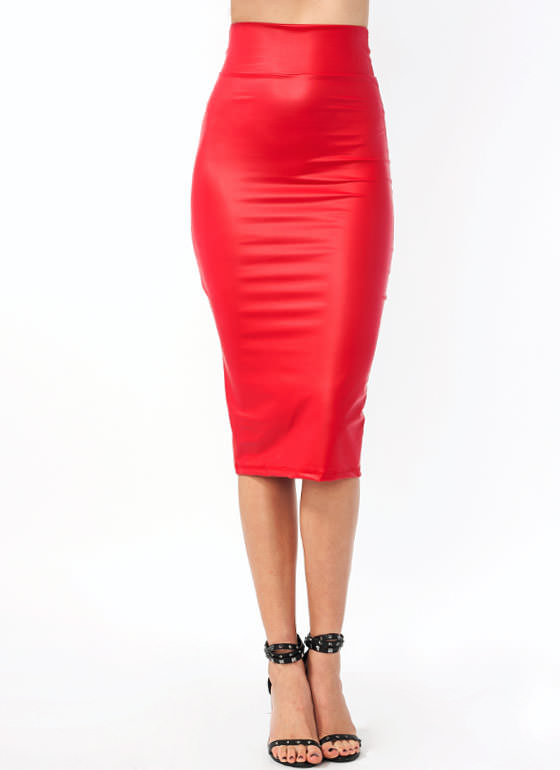 In High Gear Midi Skirt RED