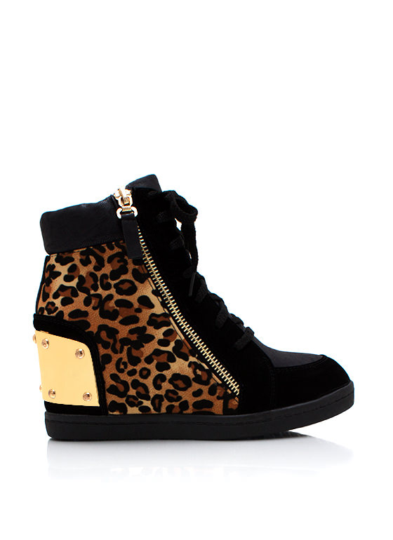 Funky Leopard Wedge Sneakers BLACK