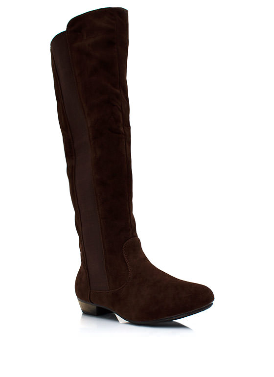 Battlestar Faux Suede Boots BROWN