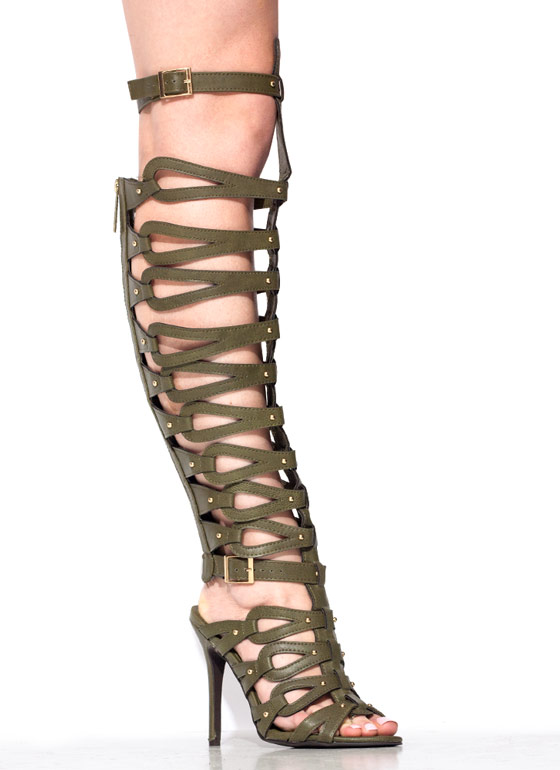 Trapped In Straps Gladiator Heels GREEN