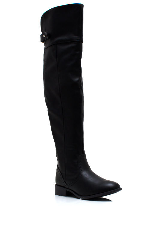 Over The Knee Riding Boots BLACK
