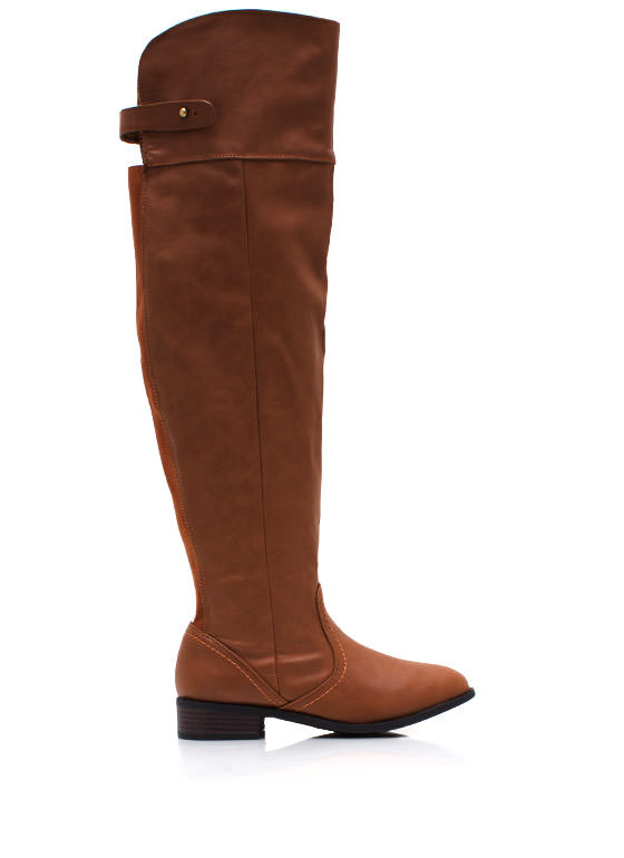 Over The Knee Riding Boots CHESTNUT