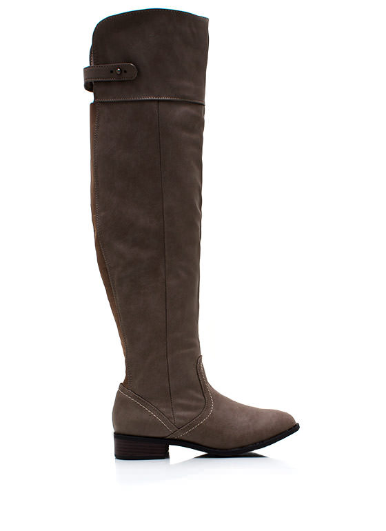 Over The Knee Riding Boots TAUPE