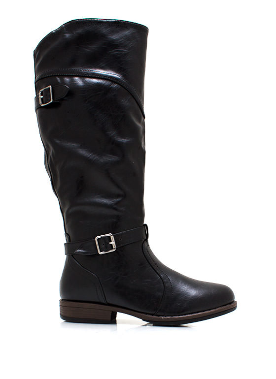 Faux Leather Equestrian Boots BLACK