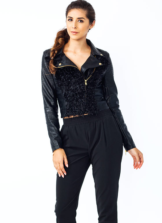 The Fuzz Cropped Moto Jacket BLACK