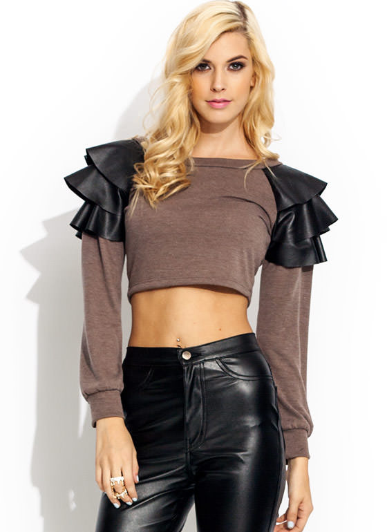 Faux Leather Flutter Sleeve Top MOCHA