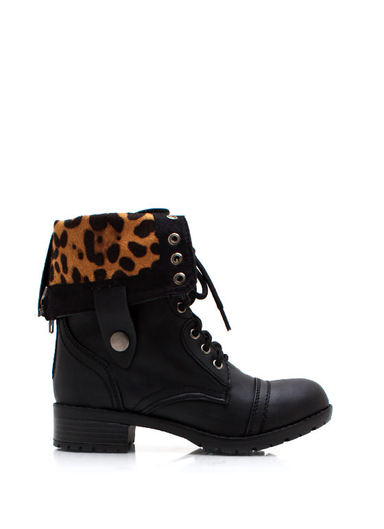 Zipping Around Combat Boots BLACKLEO