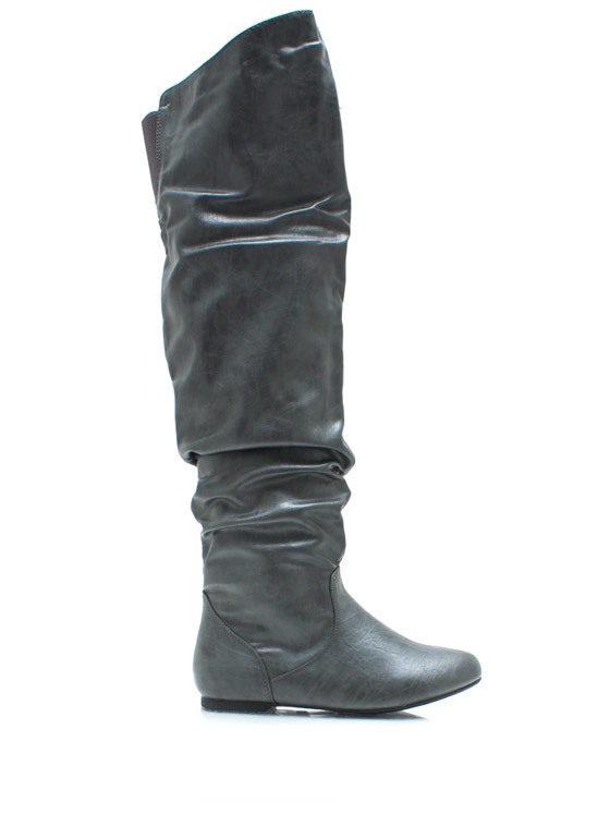 Ride High Faux Leather Boots GREY
