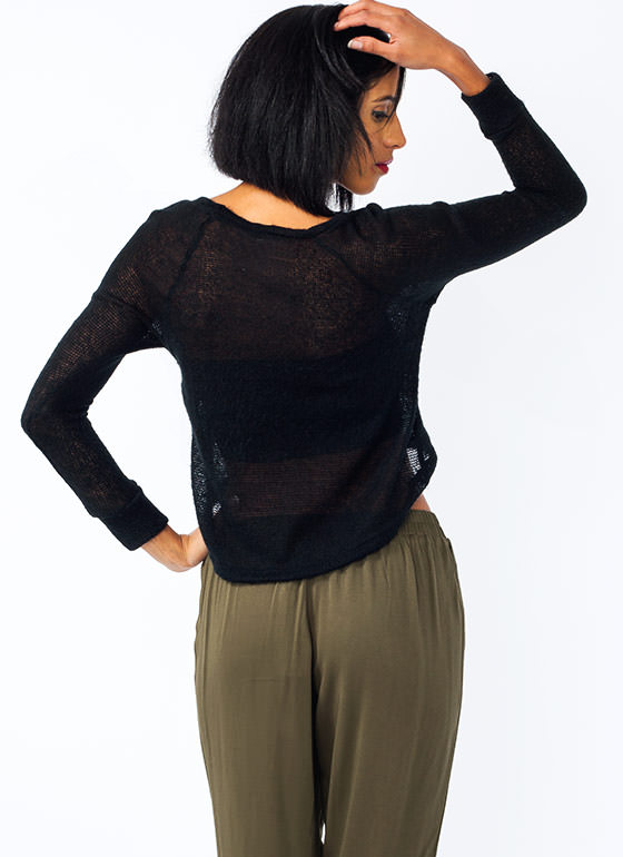 Open Weave High Low Sweater BLACK