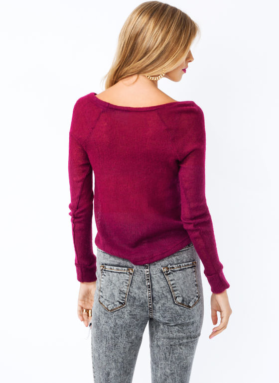 Open Weave High Low Sweater BURGUNDY