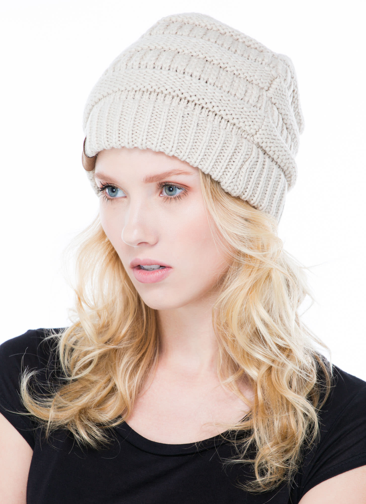 Cc Cable Knit Beanie OATMEAL
