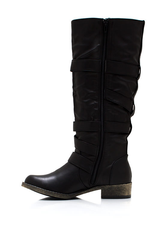 Buckled And Zipped Riding Boots BLACK