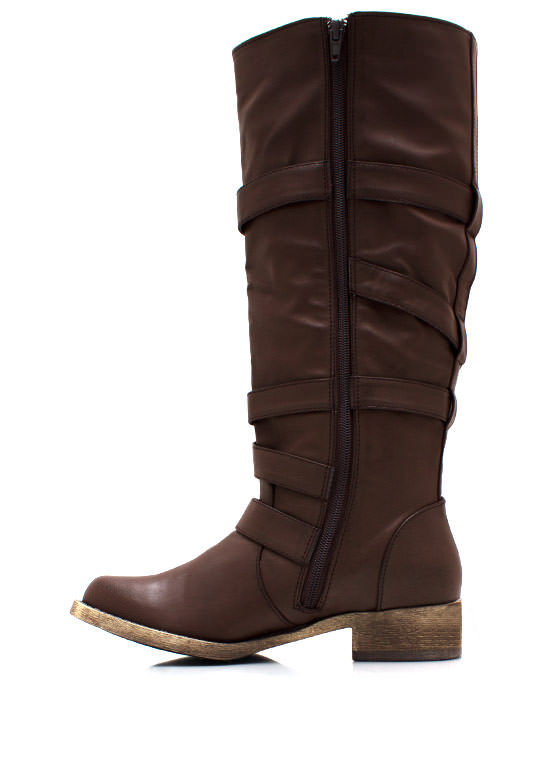 Buckled And Zipped Riding Boots BROWN
