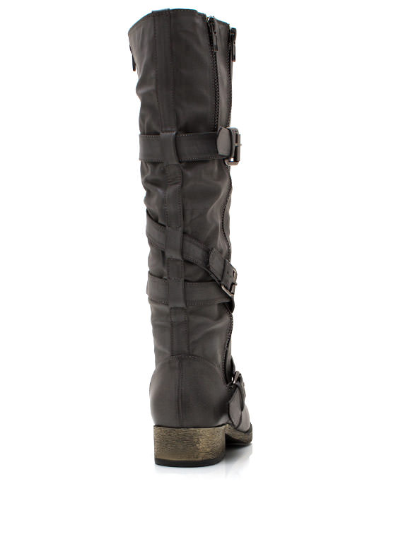 Buckled And Zipped Riding Boots GREY