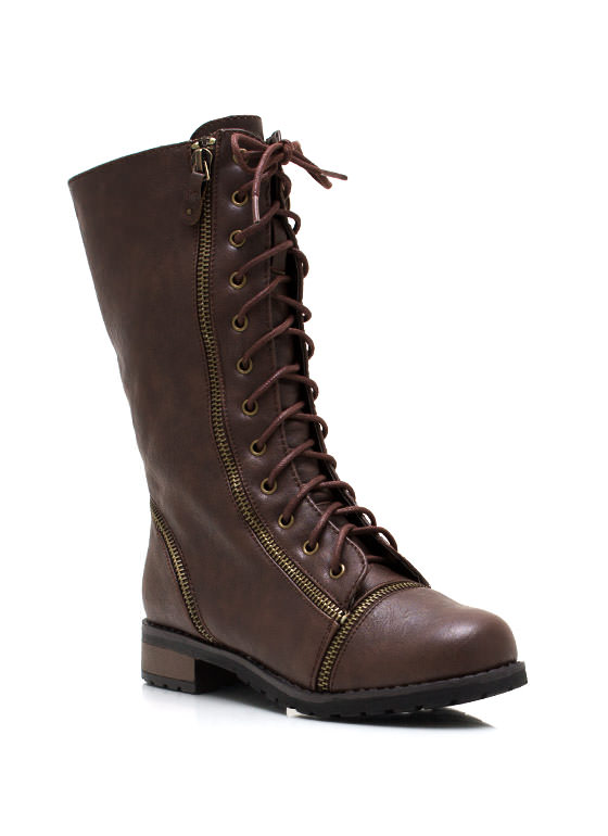 Lips Are Zipped Combat Boots BROWN