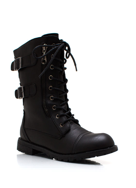 Buckled In Zippy Combat Boots BLACK