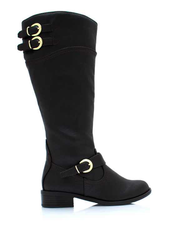 Buckle Down Two Tone Boots DKBROWN