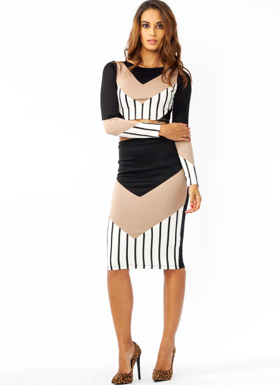 Stripe Out Chevron Pencil Skirt BLACKTAUPE