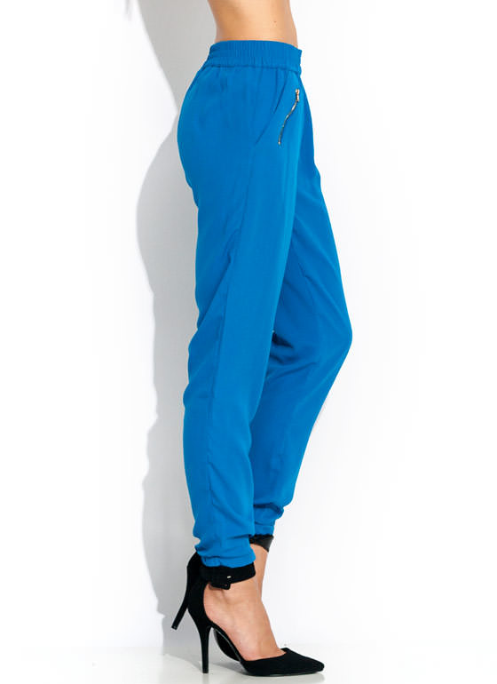 Zip It Up Woven Joggers BLUE