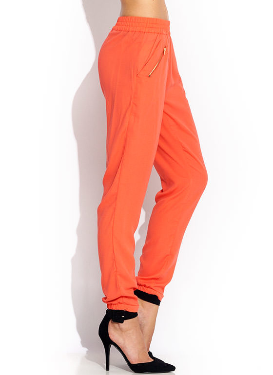 Zip It Up Woven Joggers CORAL
