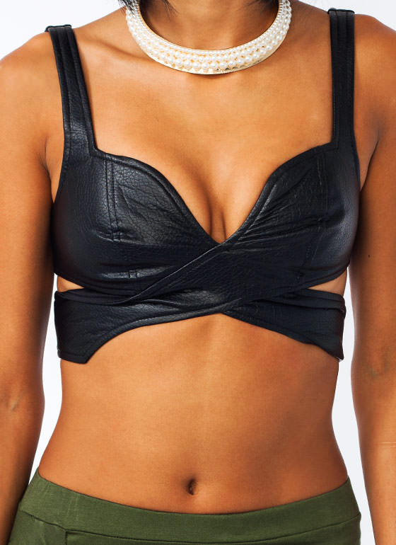 X Appeal Faux Leather Bra Top BLACK