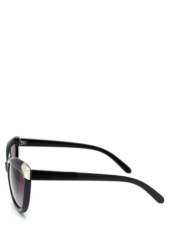 Hot Tip Cat Eye Sunglasses BLACKSILVER