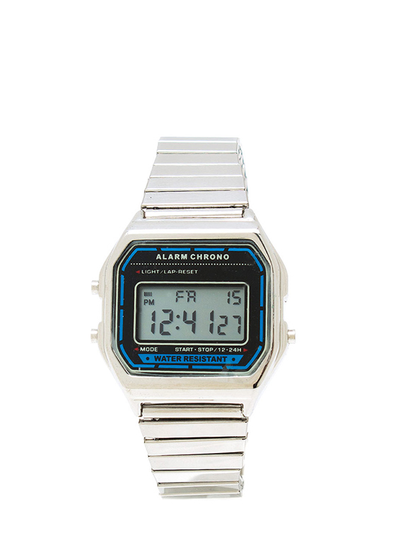 Retro Digital Stretch Watch SILVER