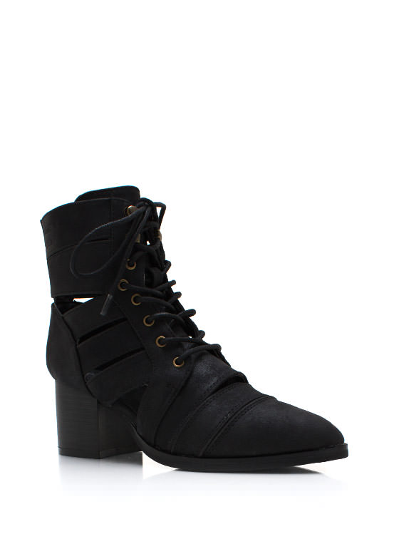 Strapped In Faux Leather Boots BLACK