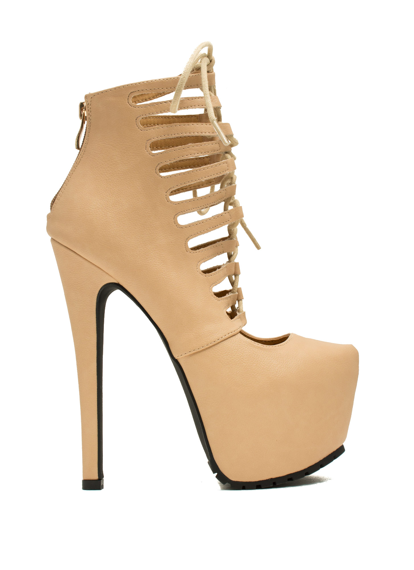 Caged Corset Booties NUDE