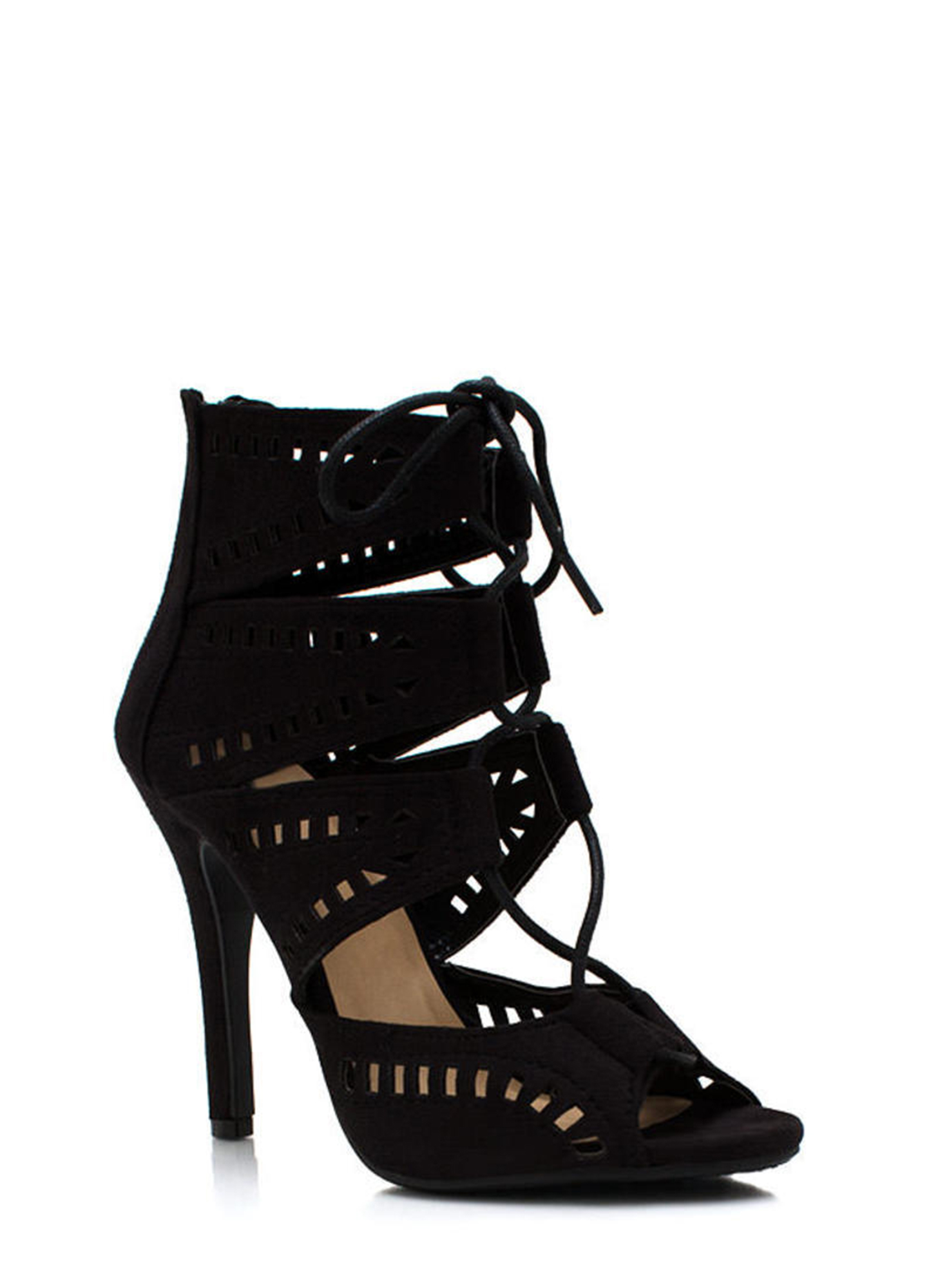 Film Strip Cut Out Booties BLACK
