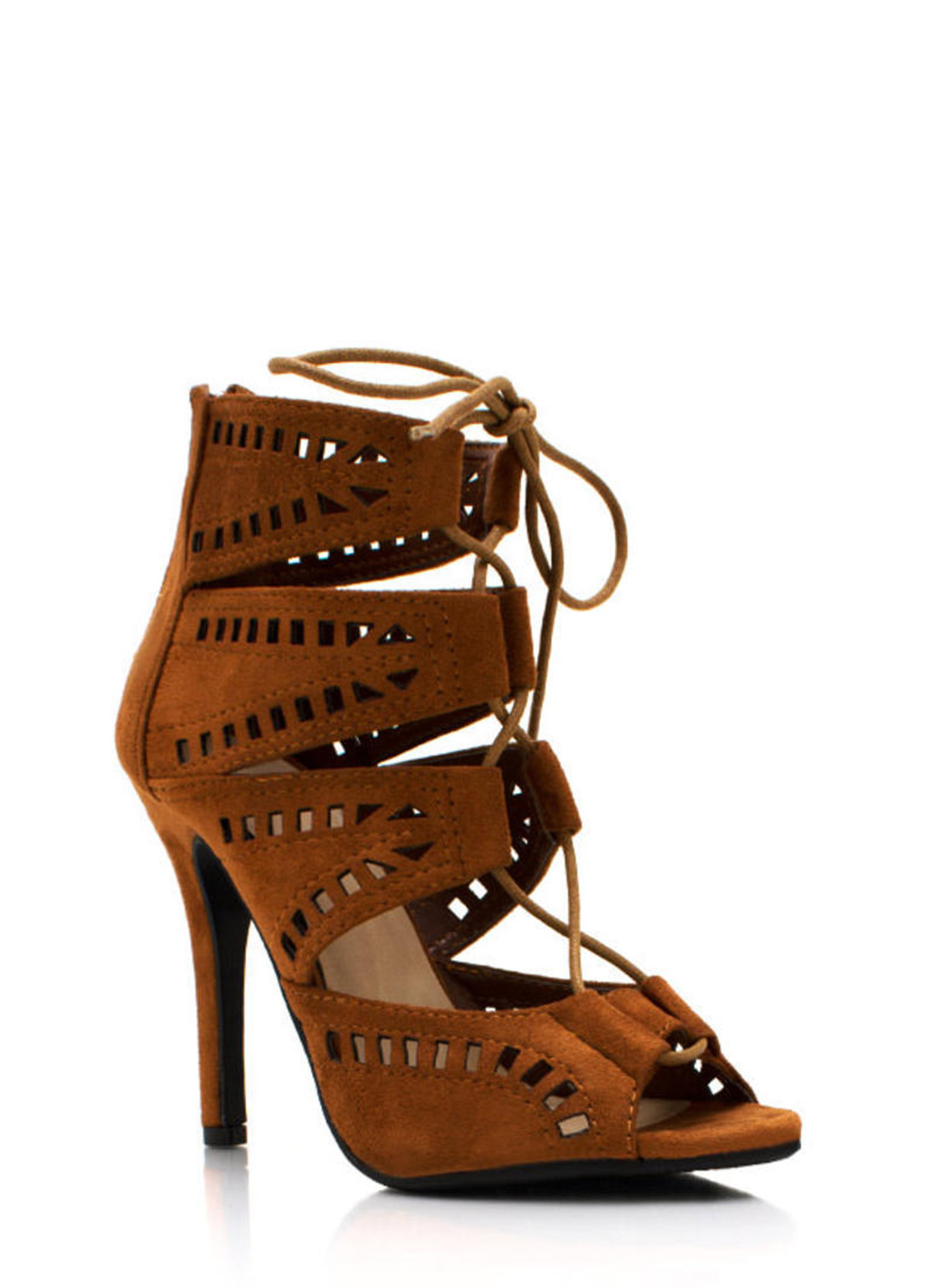 Film Strip Cut Out Booties LTHAZELNUT