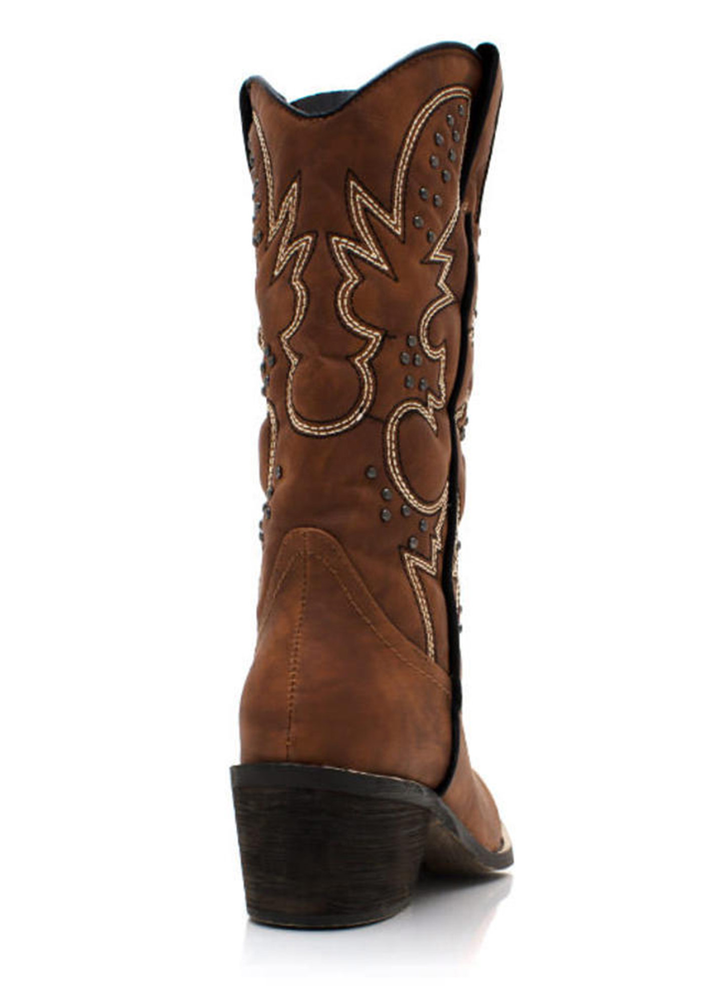 Get Stitches Studded Cowgirl Boots CHESTNUT