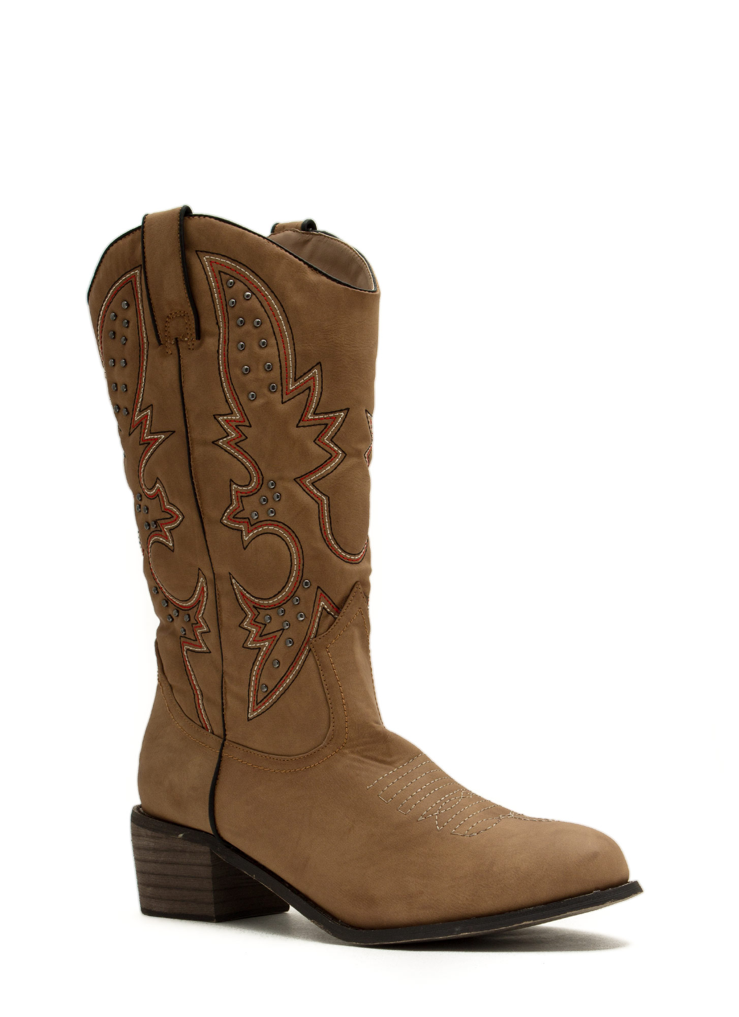 Get Stitches Studded Cowgirl Boots TAN