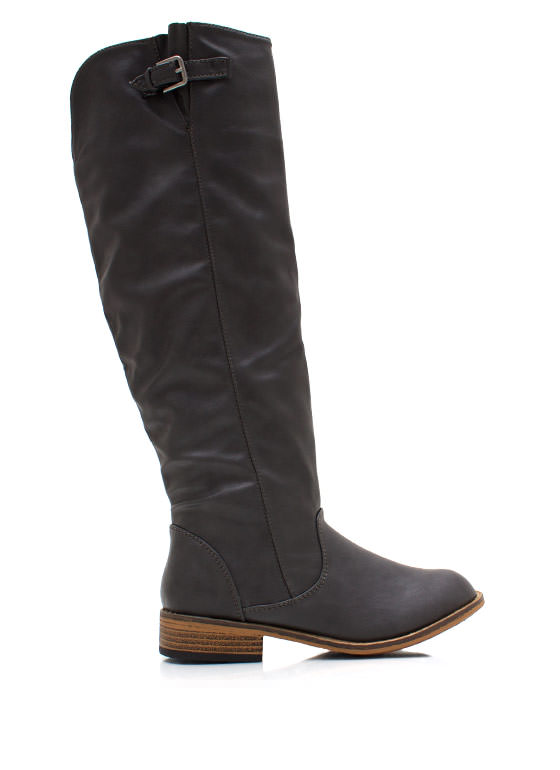 Buckle Down Riding Boots GREY