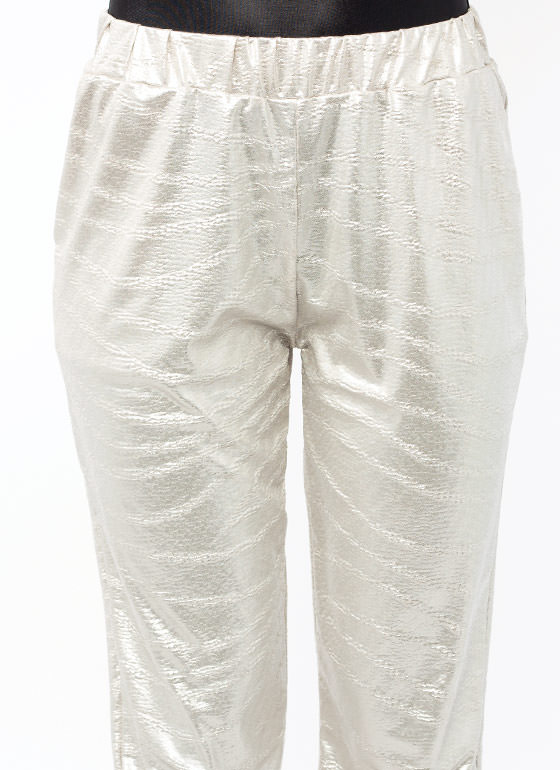 Totally Textured Metallic Joggers SILVER