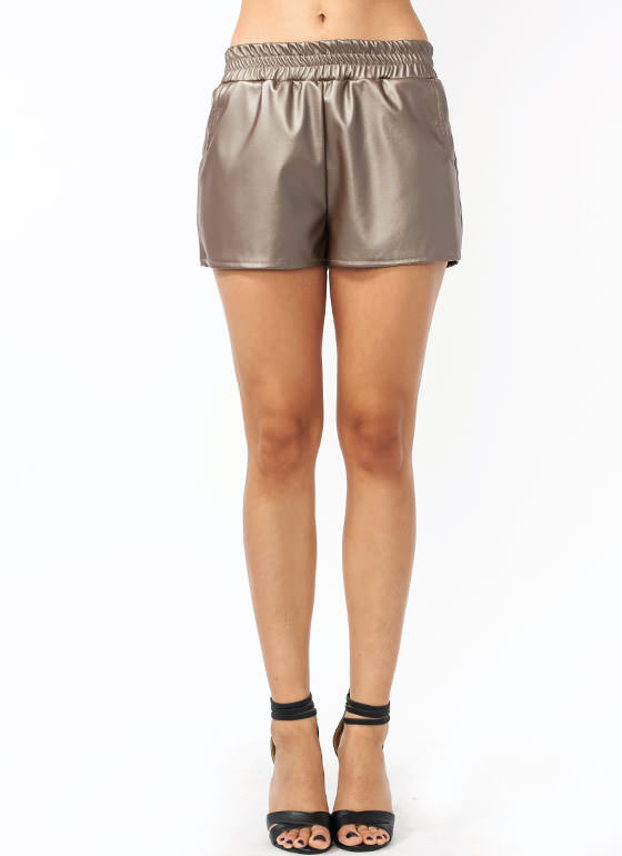 Gone Jogging Metallic Shorts BRONZE