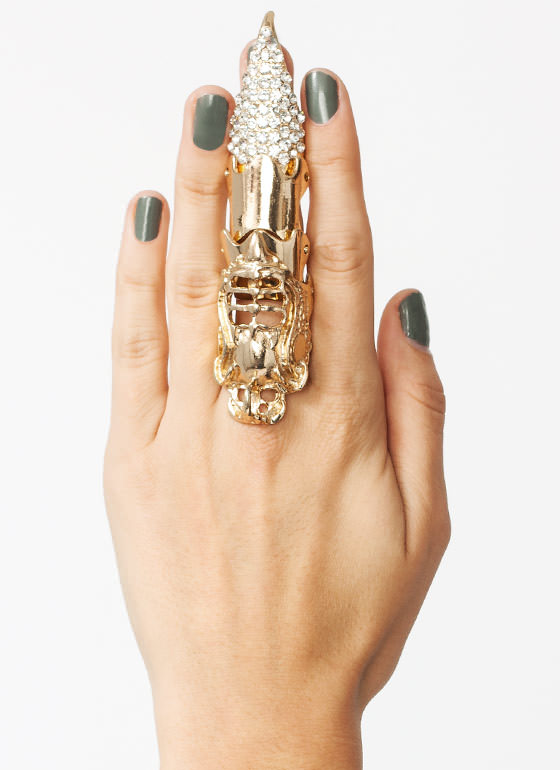 Sparkly Talon Armor Ring GOLD
