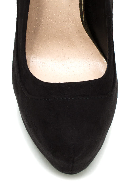 Piece Together Faux Suede Platforms BLACK