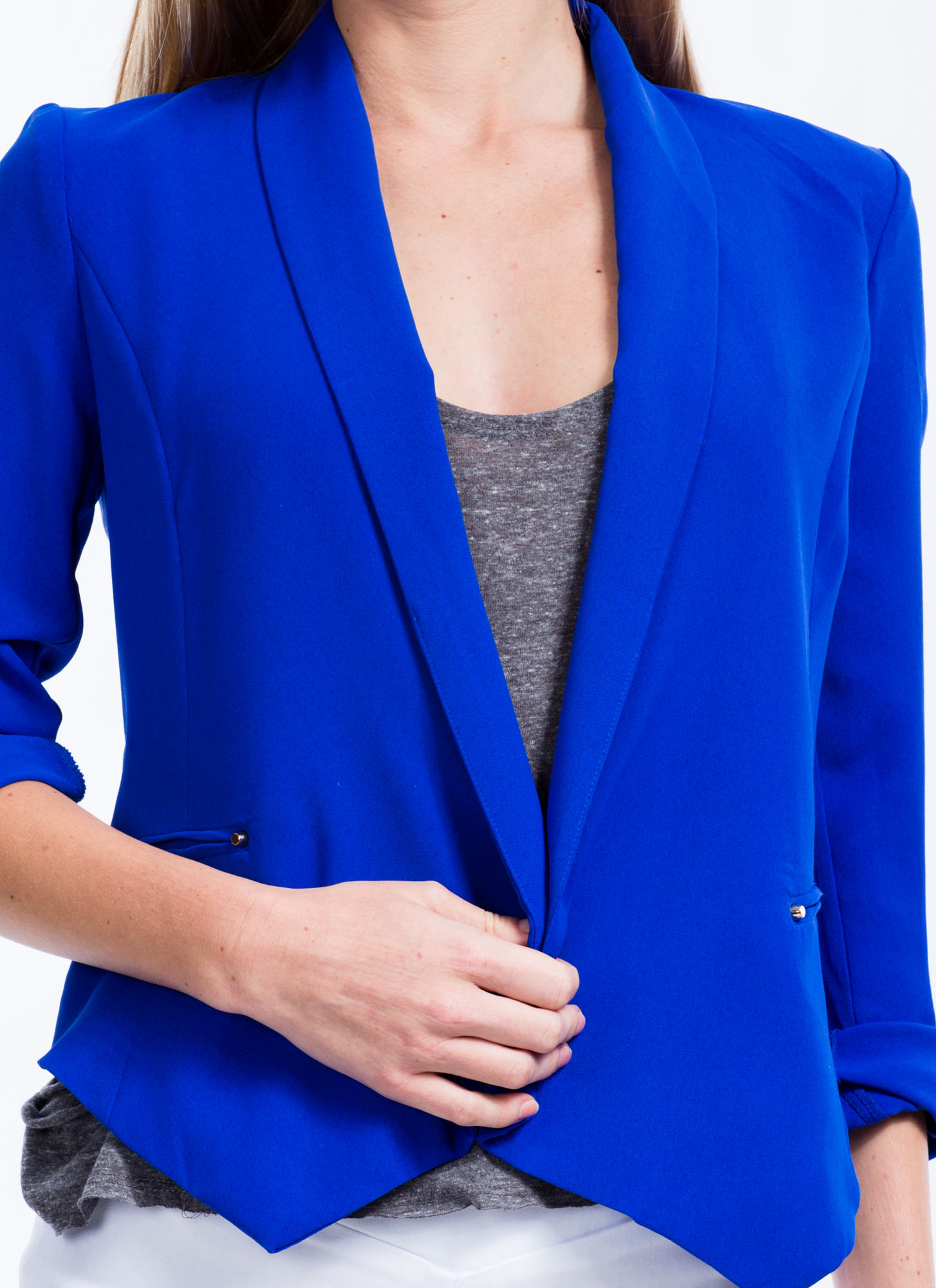 Flap Happy Shawl Collar Blazer ROYAL