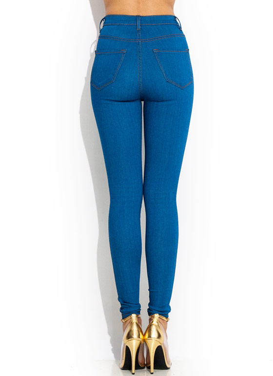 Vintage High Waisted Skinnies BLUE