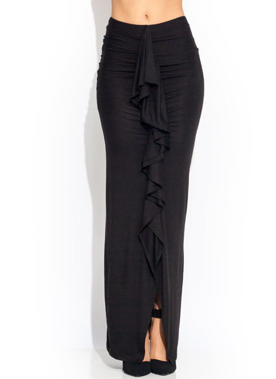 Ruffled Up Maxi Skirt BLACK