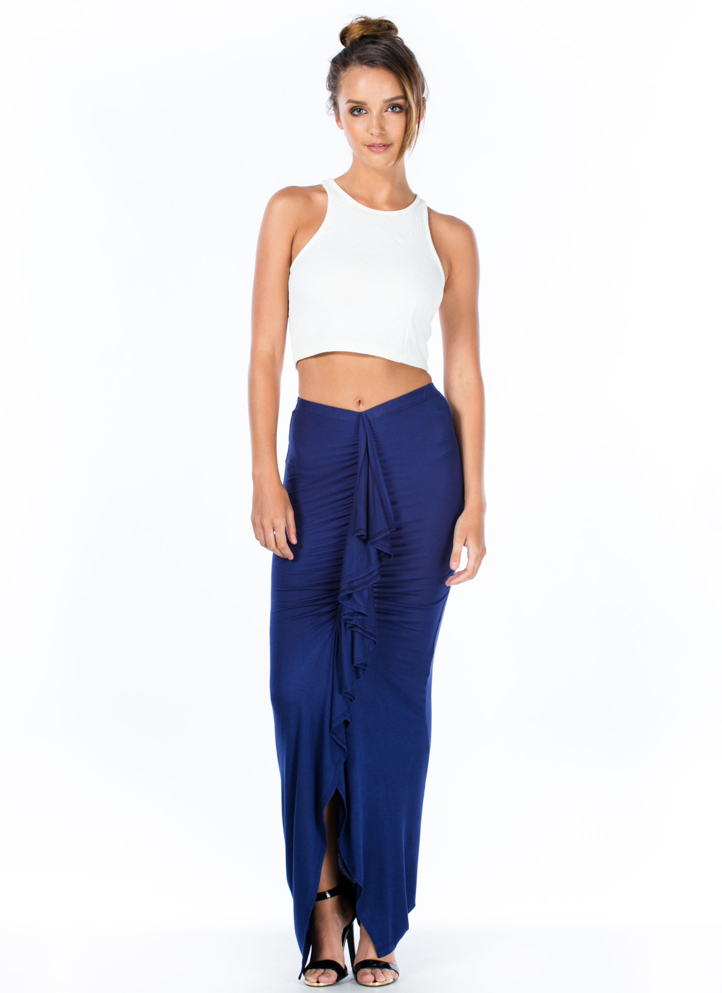 Ruffled Up Maxi Skirt NAVY