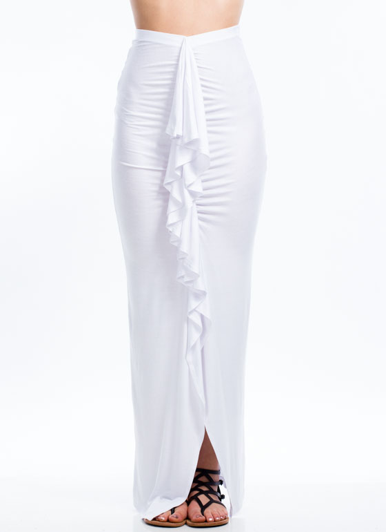Ruffled Up Maxi Skirt WHITE