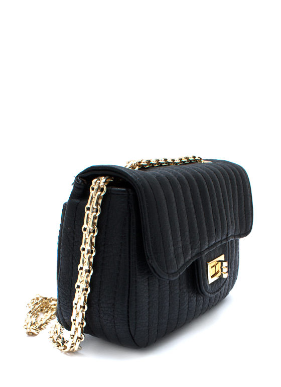 Stitched Faux Leather Mini Purse BLACK