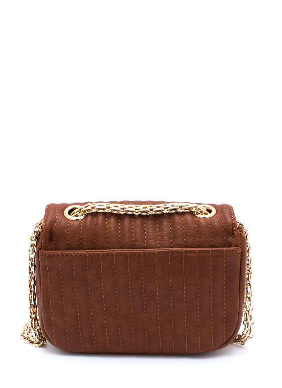 Stitched Faux Leather Mini Purse CAMEL