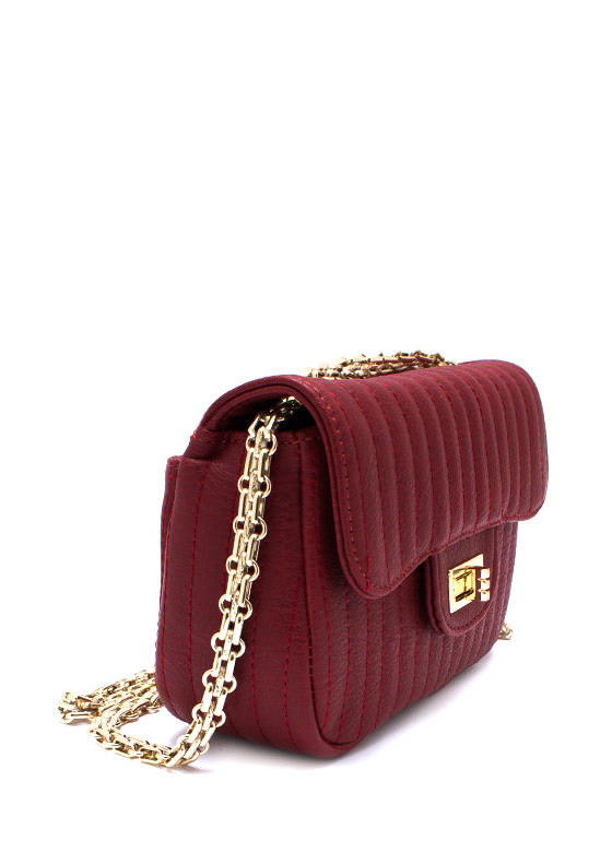 Stitched Faux Leather Mini Purse RED