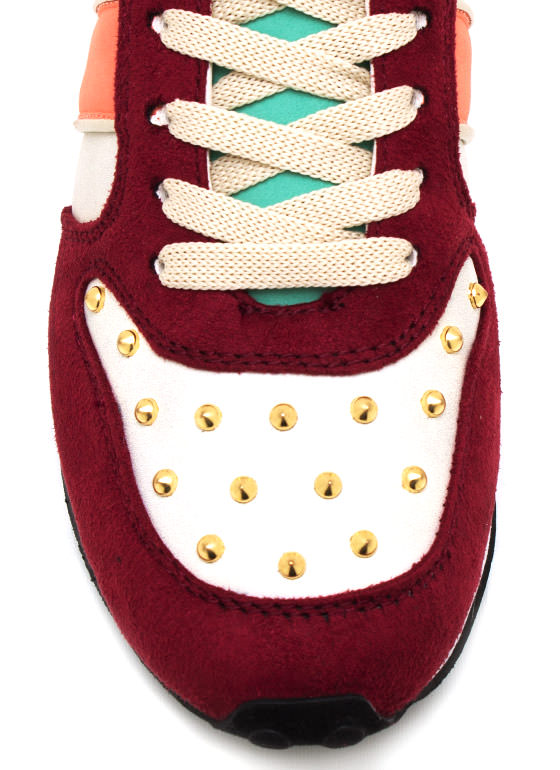 Colorblock It Off Studded Sneakers PLUM
